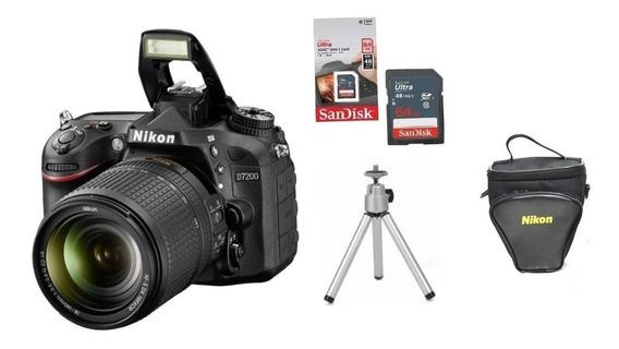 Câmera Nikon D7200 C/ 18-140mm + Bolsa + 64gb + Tripé