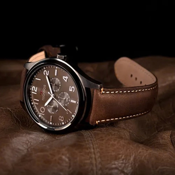 Relógio Technos Racer Pulseira De Couro 6p29akl/2p Barato Nf