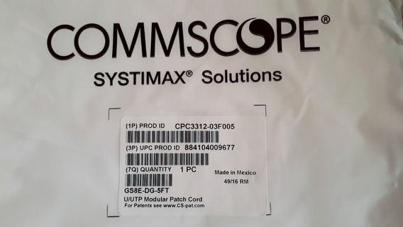 Patch Cord Systimax Cat 6 Commscope 1.50 Mt