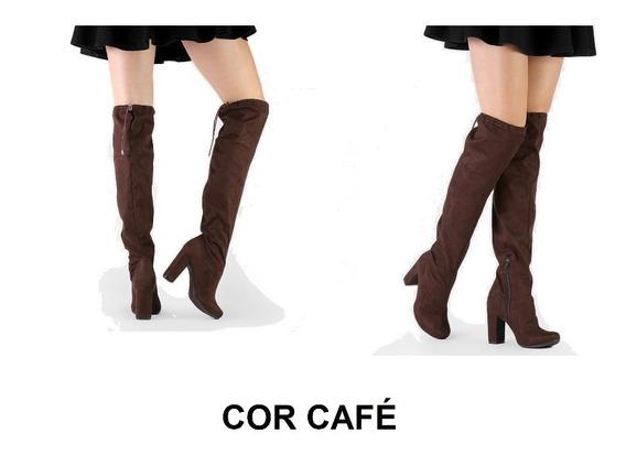 Oferta Black - Bota Feminina - Over Knee - Salto Alto 10cm - Cor Marrom Café - Tamanho 39 - Ref.848