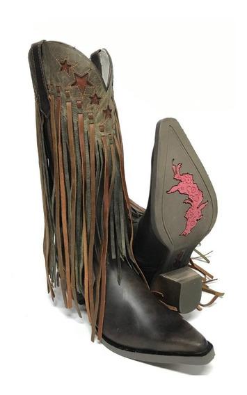 Bota Texana Country Feminina Goyazes Bico Fino Salto Franja