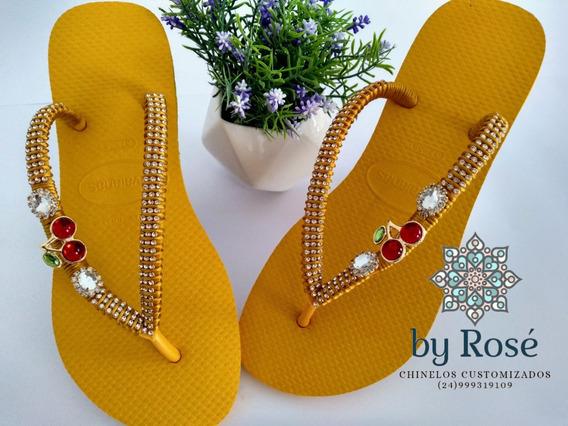 Chinelos De Luxo, Confeccionados Com Pecas Banhadas A Ouro.