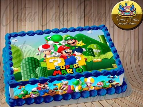 Super Mario Jogo Nintendo Papel Arroz Bolo E Faixa Lateral