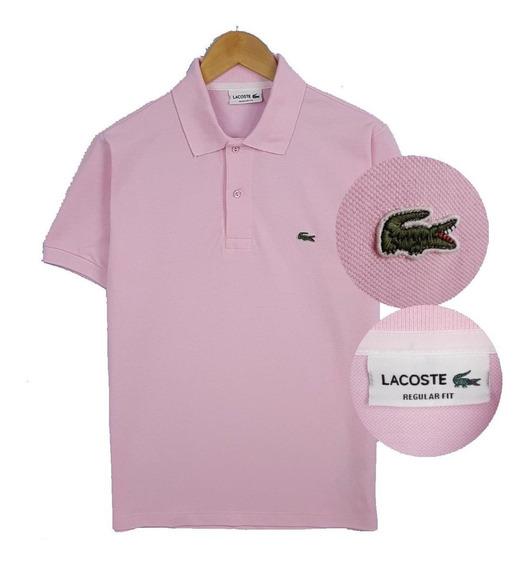 Camiseta Lacoste Basic Gold Gola Polo Rosa