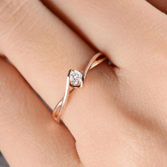 Anel Solitário Ouro 18k Noivado Diamante Rosê Branco Luxo