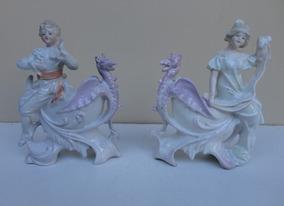 Antigo Par De Vasos (dragão) Em Porcelana Alemã (1879-1886)