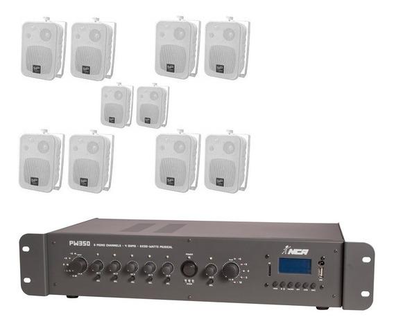 Som Ambiente 10 Caixas Sp400b Donner + Amplif Pw350 6 Seleto