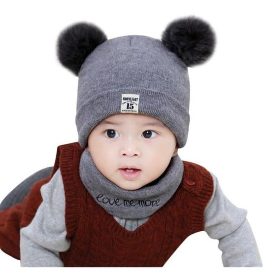 Touca Gorro + Cachecol Infantil Bebê Criança Frio Inverno