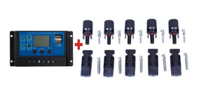 Kit Controlador De Carga + 5 Pares Conector Mc4