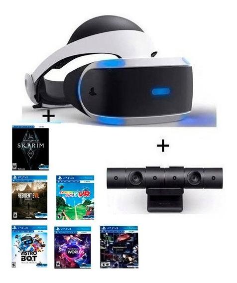 Casco Realidad Virtual Sony Ps4 Vr +camara+3 Juegos Nuevo Modelo V2!!