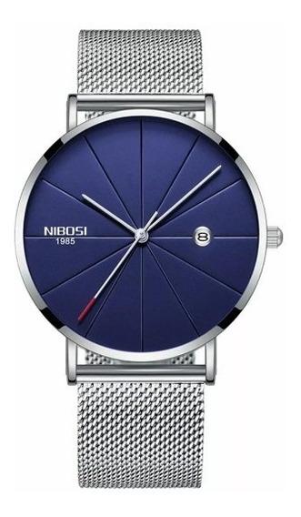 Relógio Nibosi Unissex Prata E Azul 2321 Original
