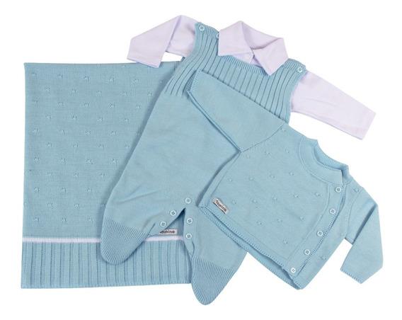 Saída De Maternidade Menino Azul Tricô Luxo 4 Peças