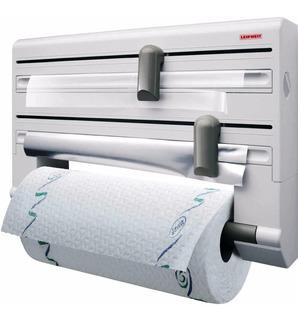 Dispenser Porta Rollo Cocina Papel Film Aluminio - Leifheit - Portarrollo Plastico De Pared - Stock
