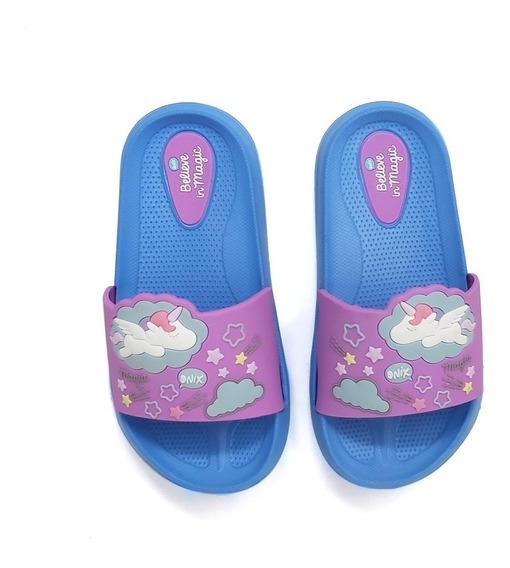 Sandalia Onix Para Niña Morado Y Azul Unicornio Tipo Slip On