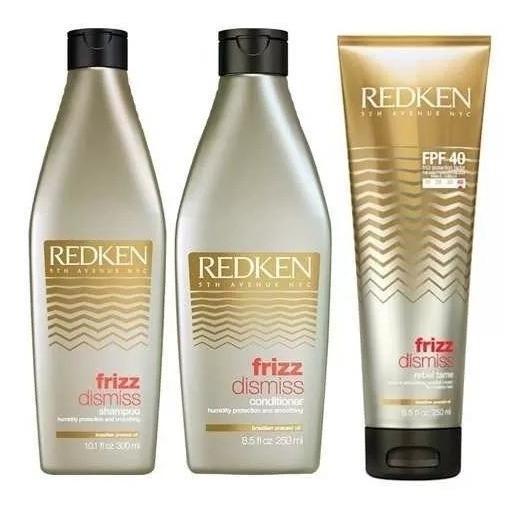 Redken Frizz Dismis Kit - Shampoo 300ml + Condicionador 250ml + Rebel Tme 250ml