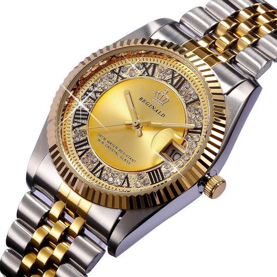 Relógio Feminino Prova De Água Quartzo De Luxo Reginald 2115
