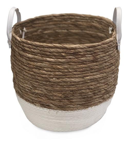 Canastos Mimbre Seagrass N4 Con Manijas Deco Moda Fashion