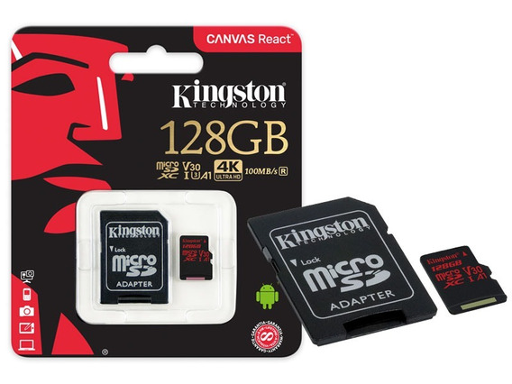 Cartao De Memoria Classe 10 Kingston Sdcr/128gb Micro Sdxc