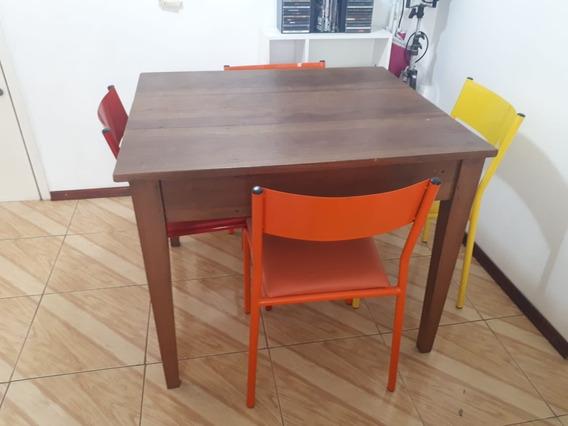 Mesa De Jantar Madeira De Demolição 4 Lugares Com Cadeiras