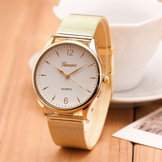 Relógio Feminino Cores Branca E Dourado De Ponteiro Barato