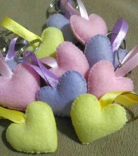 50 Chaveiros Coração Em Feltro Lembrancinha (mini)
