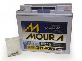 Bateria Moura Estacionária P/ No-breack Alarme 12mva18 - 18a