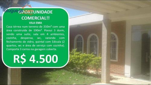 Imagem 1 de 30 de Casa Com 3 Dormitórios Para Alugar, 190 M² Por R$ 4.500,00/mês - Vila Ema - São José Dos Campos/sp - Ca2901