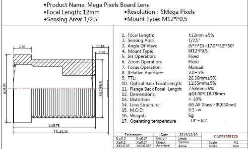 Lente 12mm Cctv Com 5 Megapixels 1/2