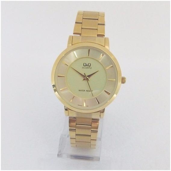 Relógio Feminino Qq Quartz 001y Vip Slim Dourado Original