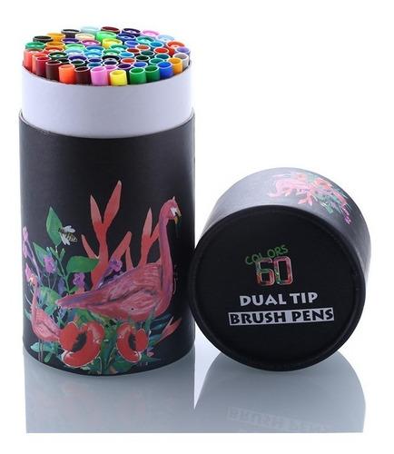 Marcadores-plumones Dual Tip Brush Pens -60unid.