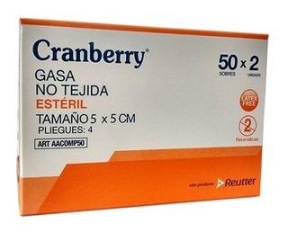 Gasa Estéril No Tejida 5 X 5 Cm Cranberry - Caja 50 Sob X 2