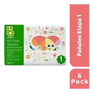 6 Pack: Babyganics Pañales Etapa 1, 34 Unidades C/u