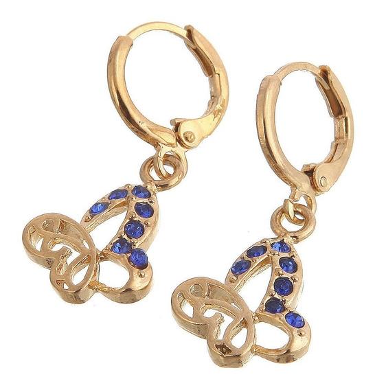 Brincos Feminino Safira Azul Ouro14kplated Dia Noivado 349
