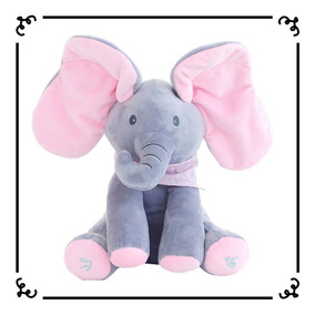 Peek A Boo Elefante Rosa Animado Canta Mexe Orelha Pelúcia