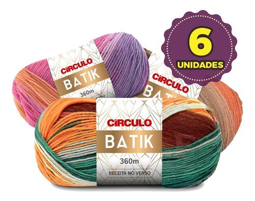 Lã Fio Batik Círculo 100g - Kit 6 Novelos