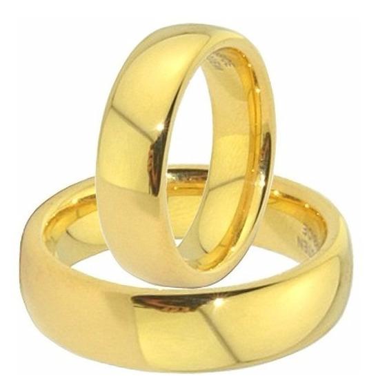 Par De Alianças Para Homens E Mulheres Banhado A Ouro 18 K