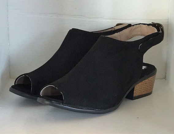 Zapato Estilo Botín #4 Tacón Bajo Negro Dama