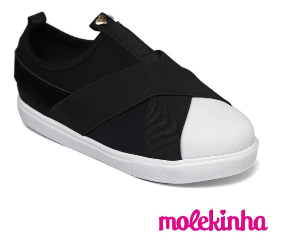 Sapato Tenis Infantil Menina Molekinha Preto Calce Facil