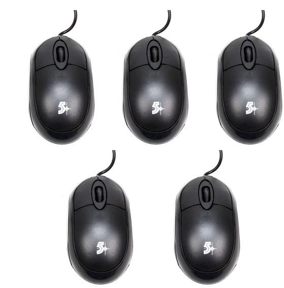 5 Mouses Ópticos Usb 5+ 015-0043 1000dpi Preto Chip Sce