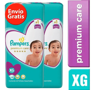 2 Paquete Pañales Pampers Premium Care 120 Unidades Talla Xg