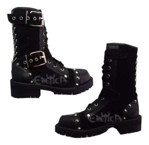 Imagen 1 de 1 de Eretica Ropa Dark-bota Corta Piel Gamuza Hebillas,punk-metal