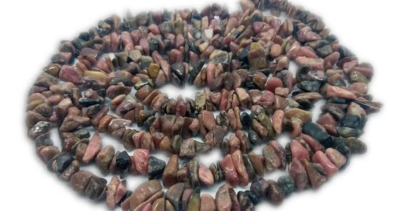 Colar De Cascalho Rodocrosita Natural Pedra Do Amor