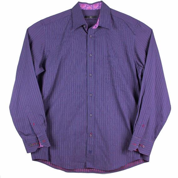 Camisa Bugatchi A Righe Viola Para Hombre Talla L