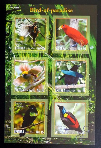 Eritrea Aves Bloque 6 Sellos S Dentar Paraíso 17 Mint L10030