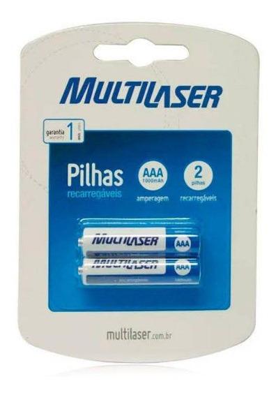 Pilha Recarregável Aaa 1000mah Com 2 Cb051 - Multilaser