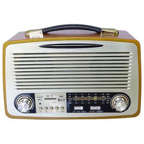 Rádio Retro Bluetooth Antigo Vintage Madeira 2907bta Usb Fm