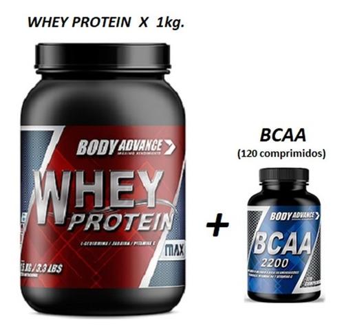Whey Protein 1 Kg  ( Proteína Pura ) + Bcaa 120 Comprimidos. Body Advance