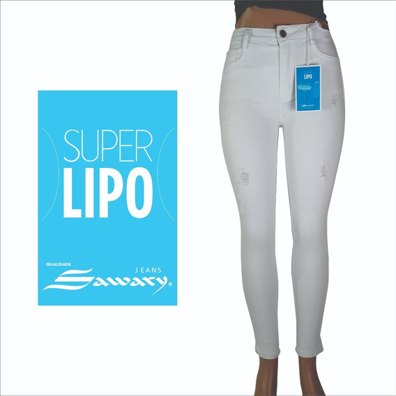 Calça Jeans Fem Sawary Super Lipo Levanta Bumbum Cinta Model