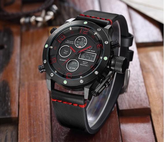 Relógio Esportivo Militar Golden Hour Couro Luxo Promoção