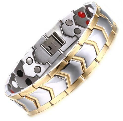 Pulsera Brazalete Magnético Titanio Titanium Diseño Plata